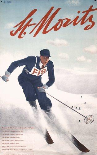 271 RARE ORIG 1930s St. Moritz Ski Travel Poster HERDEG