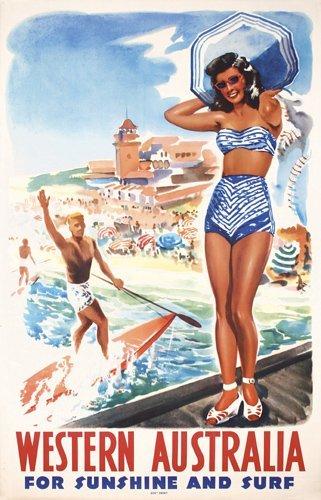357: Original AUSTRALIA Travel Poster Beach Surfing 40s