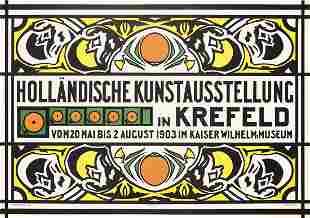 Original 1903 Dutch Art Exhibition Poster THORN-PRIKKER
