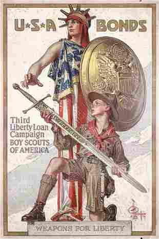 Rare ORIGINAL US WW I Leyendecker Poster 1918 Scouts