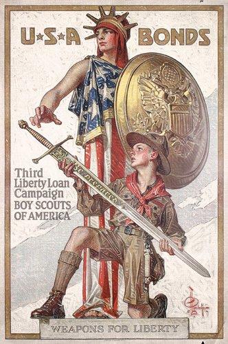 2: Rare ORIGINAL US WW I Leyendecker Poster 1918 Scouts