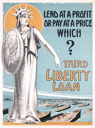 ORIG US WW I poster Statue of Liberty Ships WOW