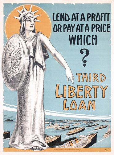 3: ORIG US WW I poster Statue of Liberty Ships WOW