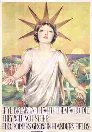 RARE US WW I Poster 1919 Lady Liberty