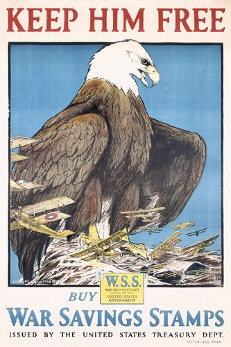 ORIGINAL US WW I Poster Bull Eagle + Bonus