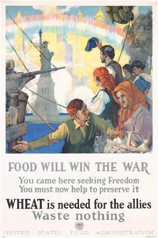 ORIGINAL WW I Poster Food will win the war