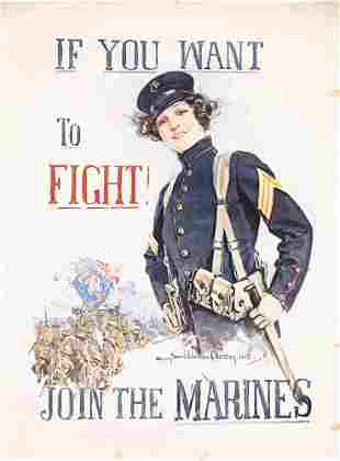 Original US WW I Join Marines Poster Christy 1915