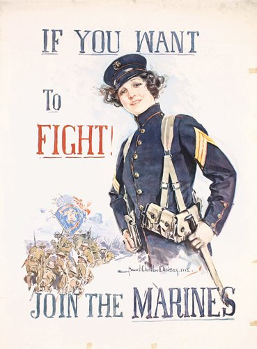 16: Original US WW I Join Marines Poster Christy 1915