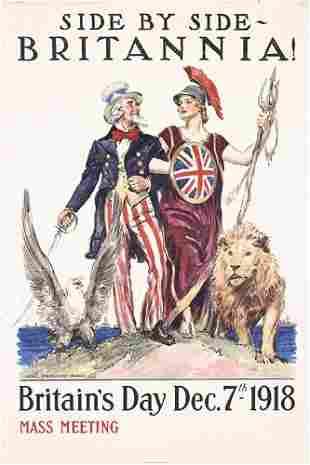 Original US WW I Poster Flagg Britannica 1918