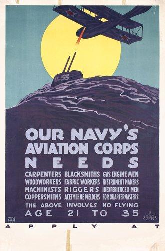 19: ORIGINAL WW I Navy Aviation Corps Poster Schmidt