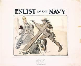 ORIGINAL US WW I Poster Enlist in the Navy 1917