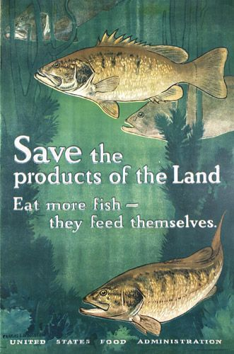 Original US WW I Poster Bull Fish Save the Products