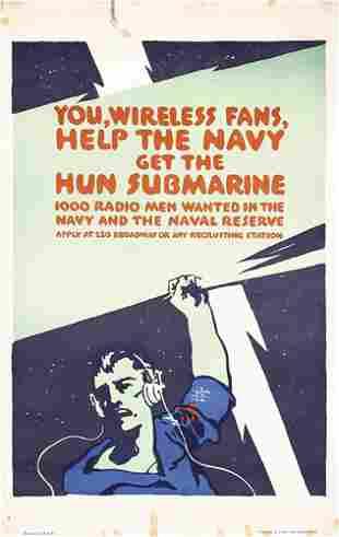 ORIGINAL US WW I poster Falls Wireless Navy