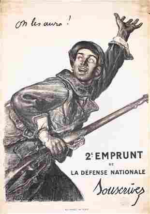 Famous ORIGINAL French WW I Poster Faivre On les au