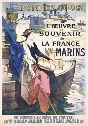 Beautiful ORIGINAL French WW I Marine Poster