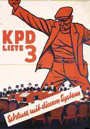 rare Communist Election Poster KPD Plakat 1930s