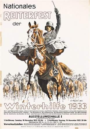 Original 1930s German Military Poster Plakat Horses