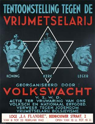 RARE WW II Freemasonry Poster Plakat 1940s
