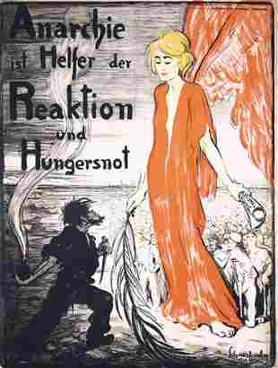 ORIGINAL Schnackenberg Anarchy Poster Plakat 1918