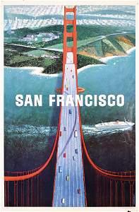 307: Old San Francisco Travel Poster Bridge 1960s