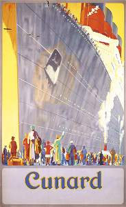 391: STUNNING Original Cunard Ship Poster 1930s
