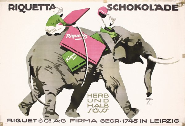4: ORIG Hohlwein Poster Chocolate Elephant 1920s
