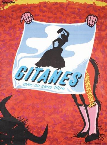 24: Beautiful Gitanes Cigarettes Poster 1950s