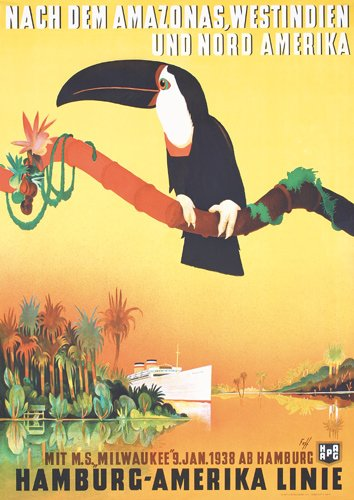 371: ORIGINAL Fuss Travel Poster Tucan