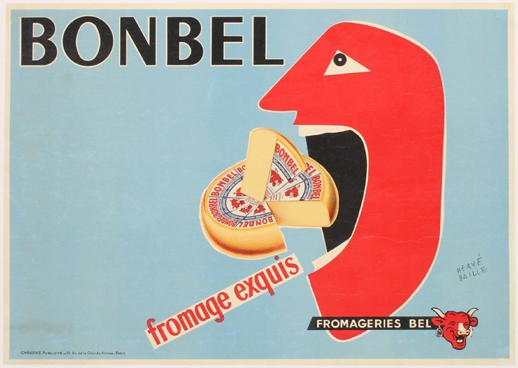 Original 1950s French Bonbel Cheese Poster HERVE BAILLE