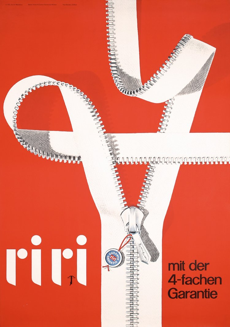 Original 1950s Riri Zipper Swiss Design Poster Plakat
