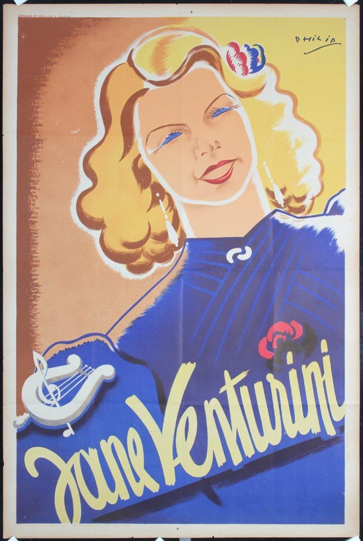 Old Original 1930s French Singer Poster JANE VENTURINI