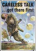 Original American World War II Poster CARELESS TALK