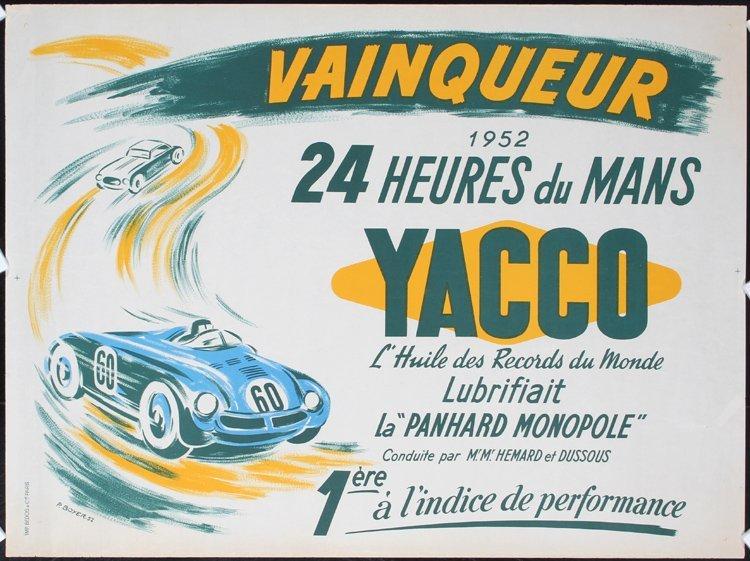 Original 1950s Auto Racing Poster 24 Hours Le Mans