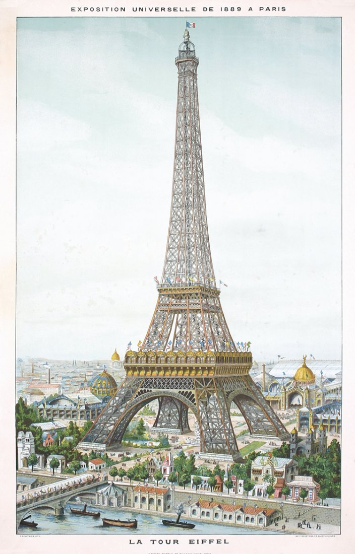 RARE ORIG 1889 Paris Eiffel Tower World´s Fair Poster