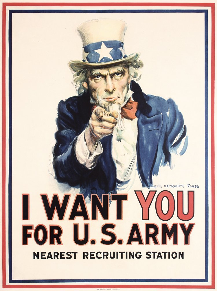 Original US WW I 1917 I WANT YOU Uncle Sam Poster FLAGG