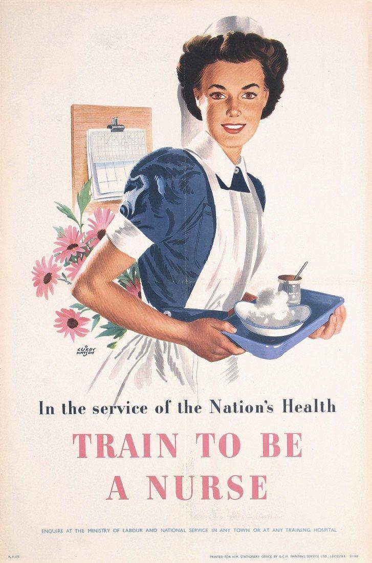 2 Original 1940s British World War II Nurse Posters - 2