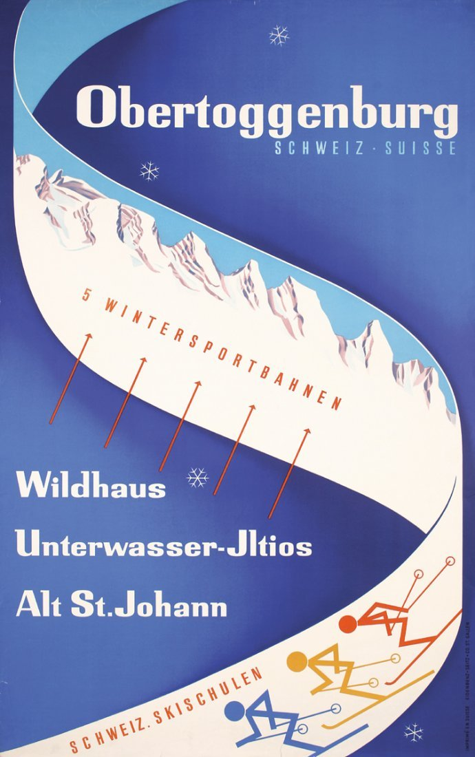 Original 1940s Swiss Ski Winter Travel Poster Plakat