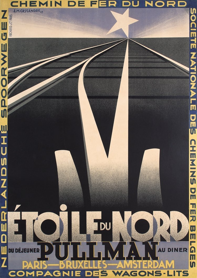 RARE ORIGINAL 1927 AM CASSANDRE Etoile Du Nord Poster