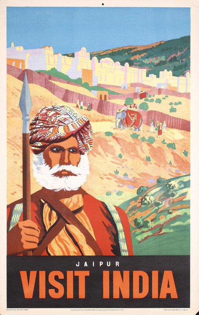 Original 1950s India Jaipur Travel Poster