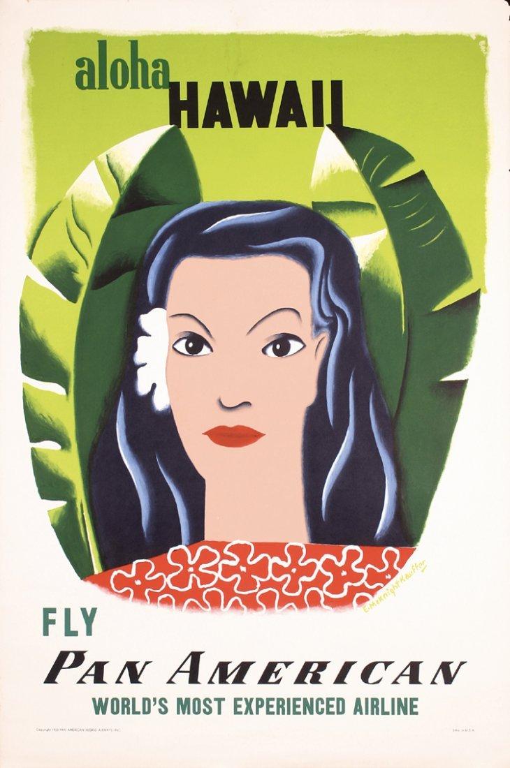 RARE ORIGINAL 1950s Pan Am Hawaii Travel Poster KAUFFER