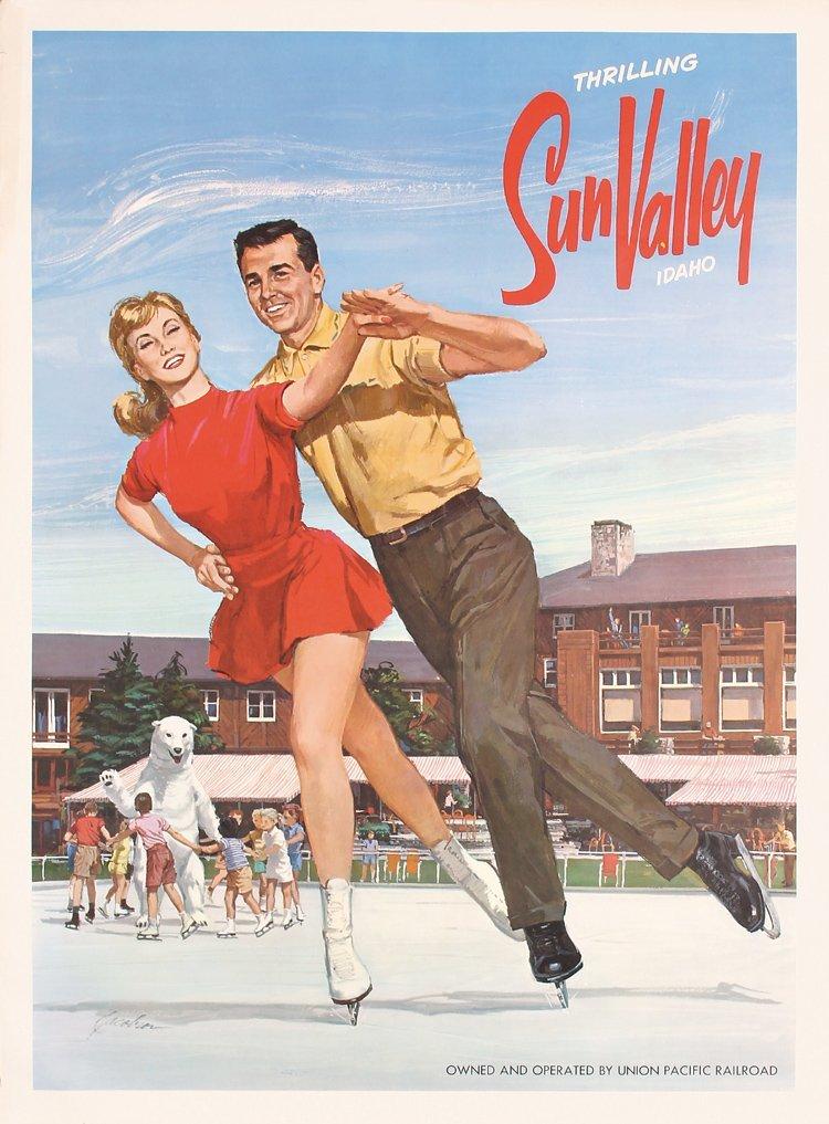Original 1950s/60s SUN VALLEY Travel Poster Ice Skating
