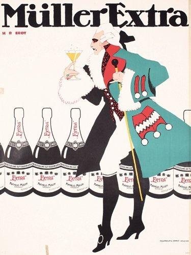90: ORIGINAL 1900s Champagne poster HANS RUDI ERDT Plak