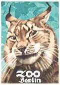 ORIGINAL 1930s HOHLWEIN Zoo Poster Plakat