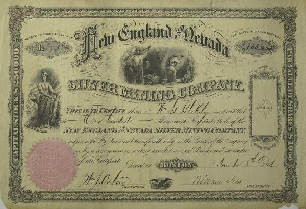 1058: New England and Nevada Stock Certificate