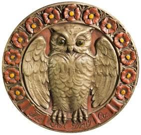 102: Owl Drug Store Plaster Emblem Wall Hanging