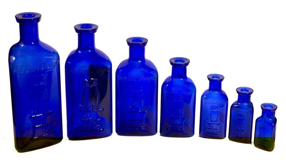 104: Owl Poison Cobalt Bottles