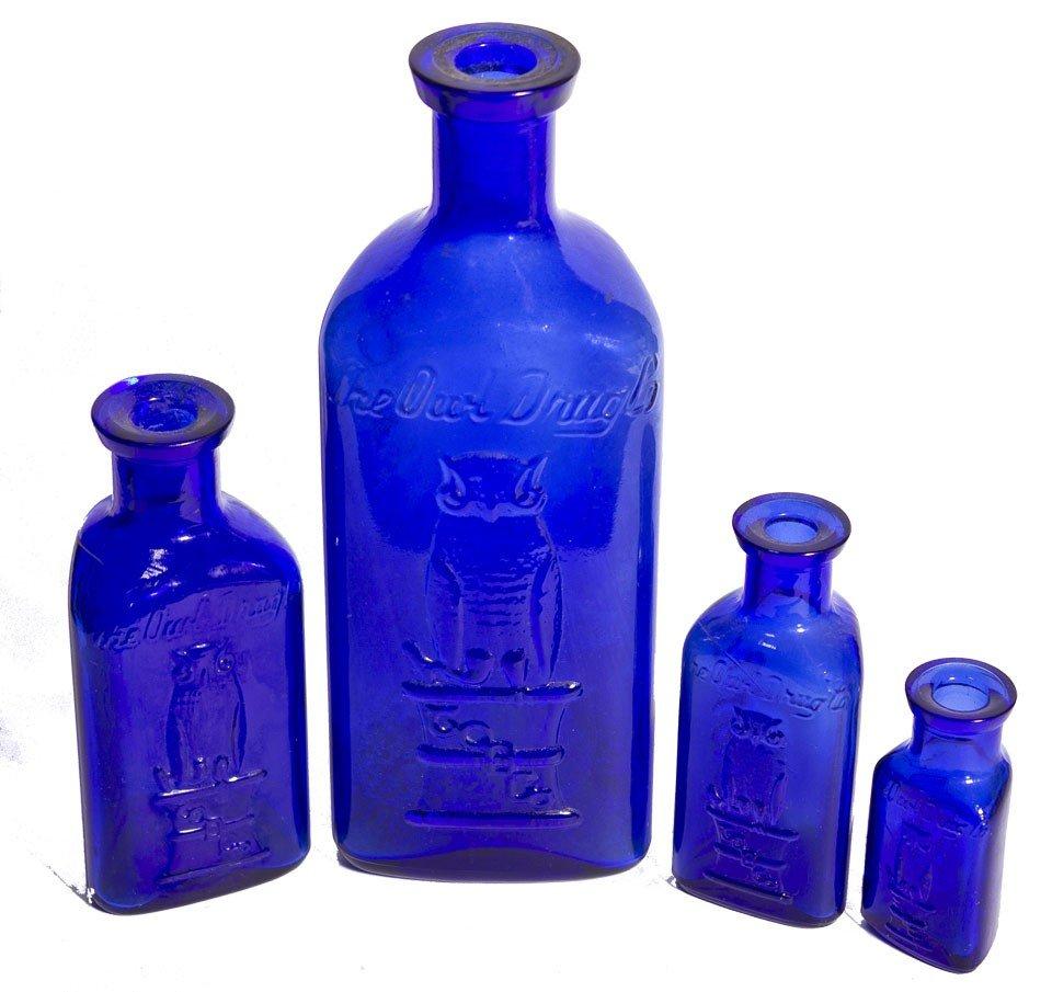 108: Owl Poison Cobalt Bottles