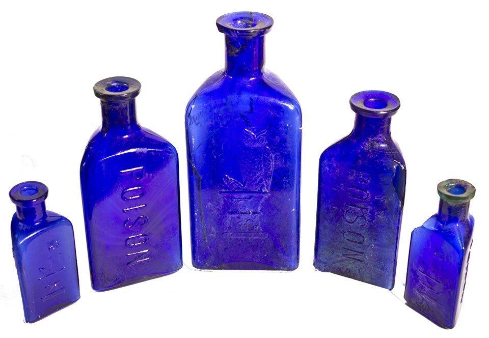109: Owl Poison Cobalt Bottles
