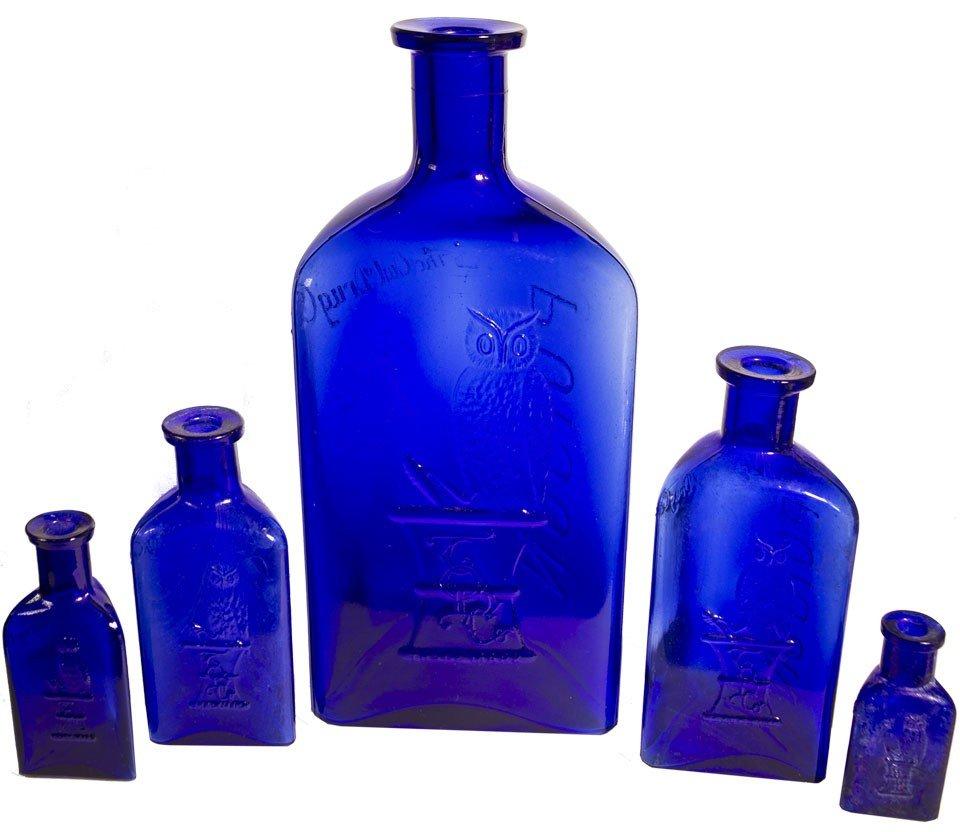 114: Owl Poison Cobalt Bottles