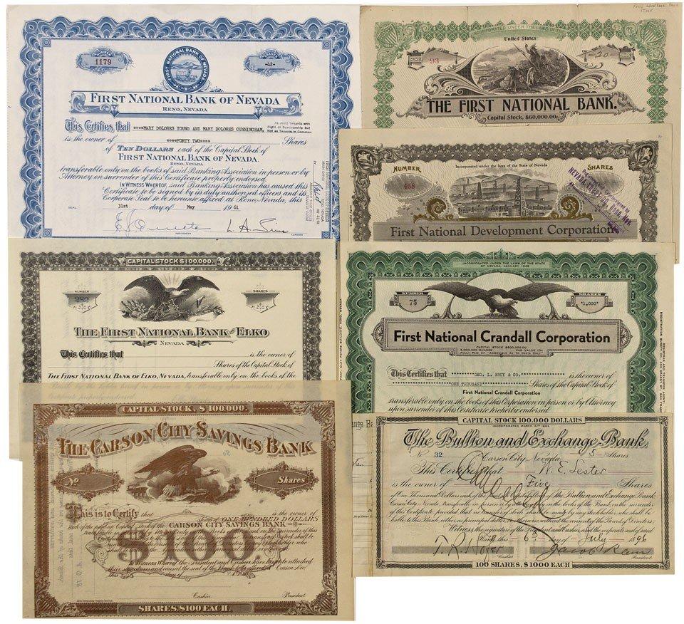 899: NV - c1975 - Nevada Bank Stock Certificates - Gil